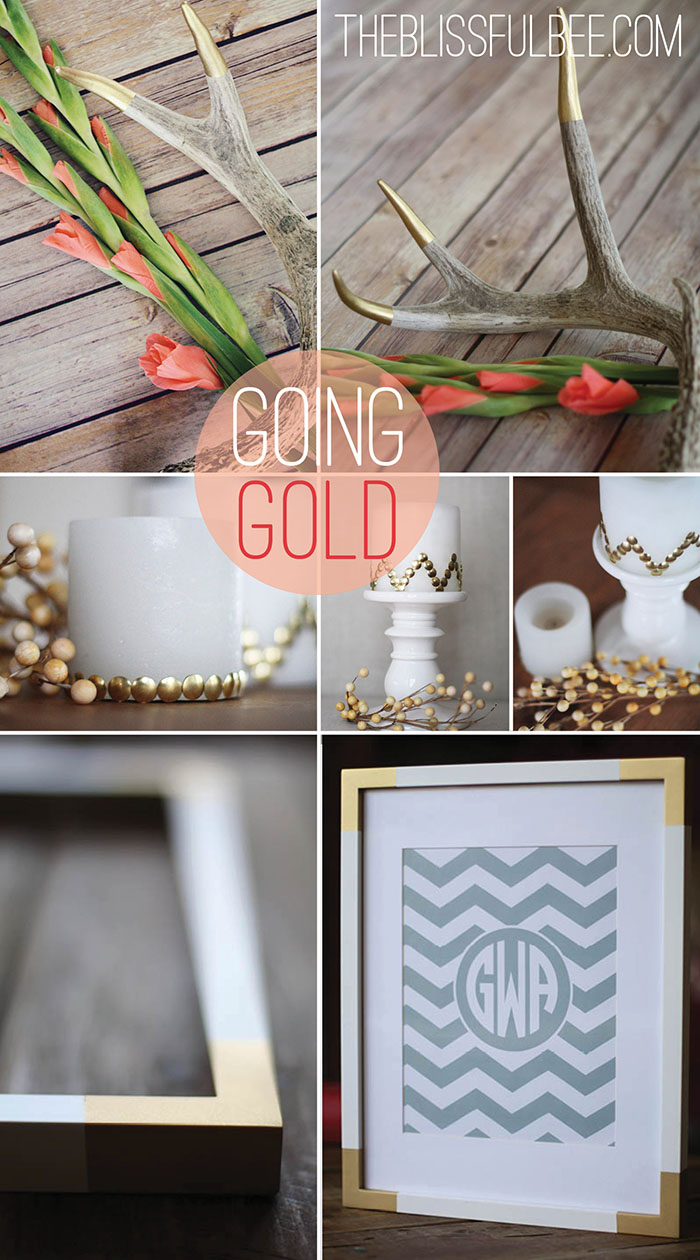 3 Simple DIY Gold Home Decor Accents | The Blissful Bee featured on Remodelaholic.com #gold #homedecor #diy @Remodelaholic