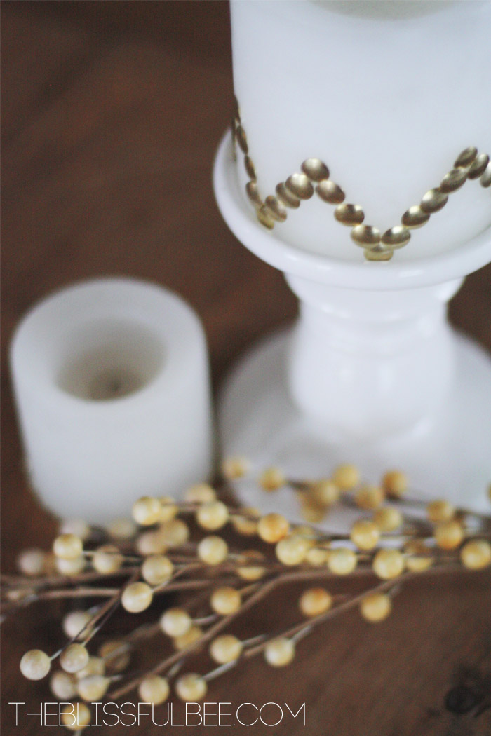 Gold Candle Makeover | The Blissful Bee featured on Remodelaholic.com #gold #homedecor #diy @Remodelaholic