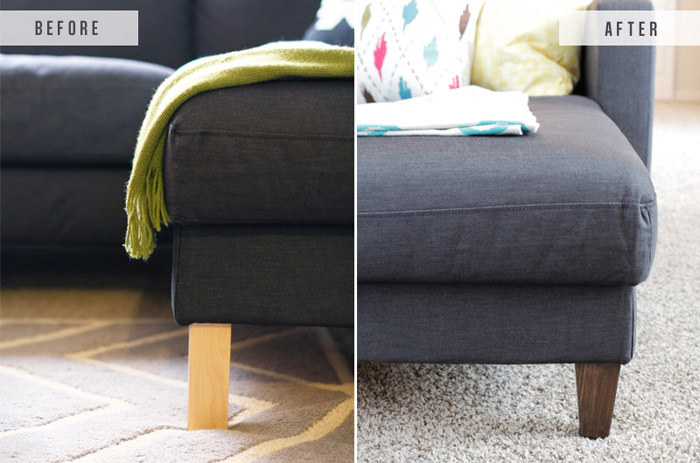 Pleasing Ikea Hack Replacing Legs On An Ikea Couch The Blissful Bee Download Free Architecture Designs Intelgarnamadebymaigaardcom