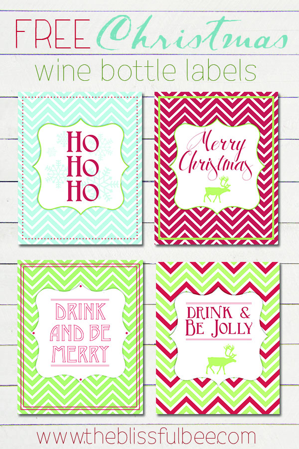 WineBottleLabels_BlissfulBee_Christmas  Free Wine Bottle Label Templates