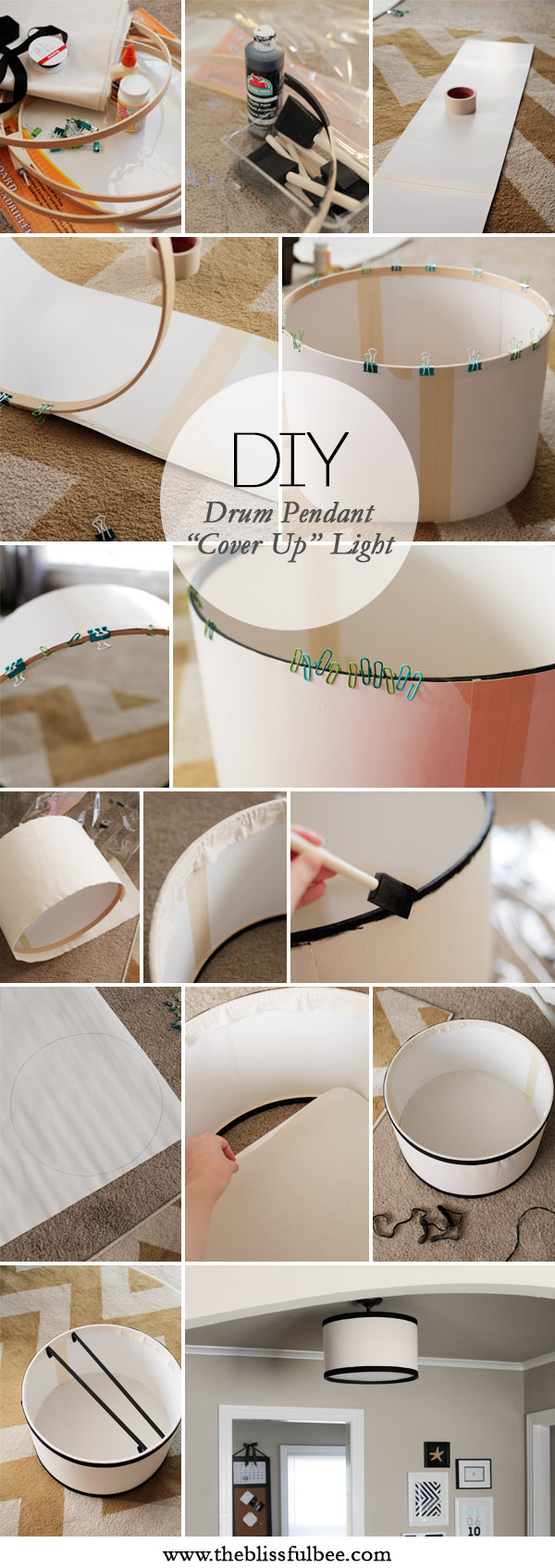Diy drum pendant cover up light the blissful bee drumpendanttutorial aloadofball Gallery