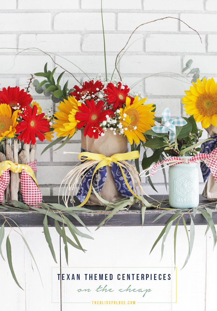 Diy texas themed centerpieces on the cheap blissful bee