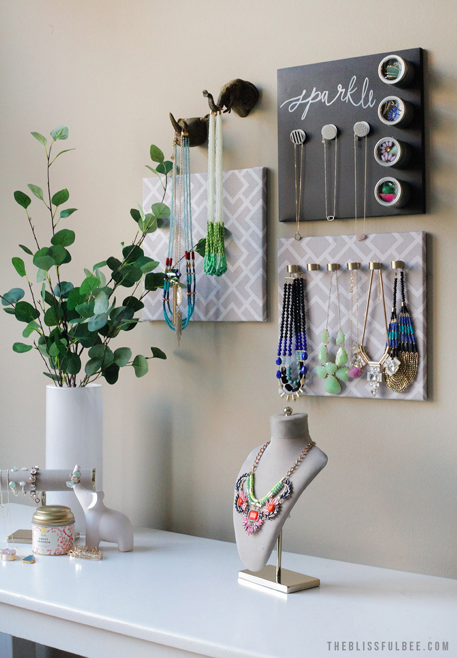 DIY Hanging Jewelry Organizer The Blissful Bee